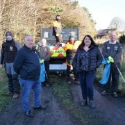 Cllrs Les Timbey and Jeanette Stephenson flanked by the Stanley Town Council clean-up team