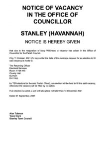 Notice of Vacancy - Stanley Town Council (Havannah Ward) dated 21 Sept 2021